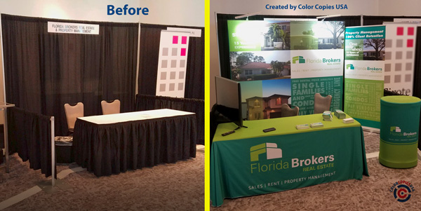 Trade show space: Empty space before Color Copies USA installed table background and after