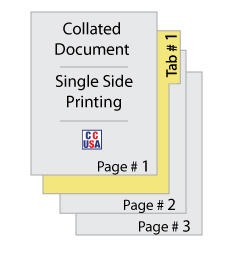 this image shows a document that consists of multiple pages and a special section separation which is represented by a yellow tab sheet