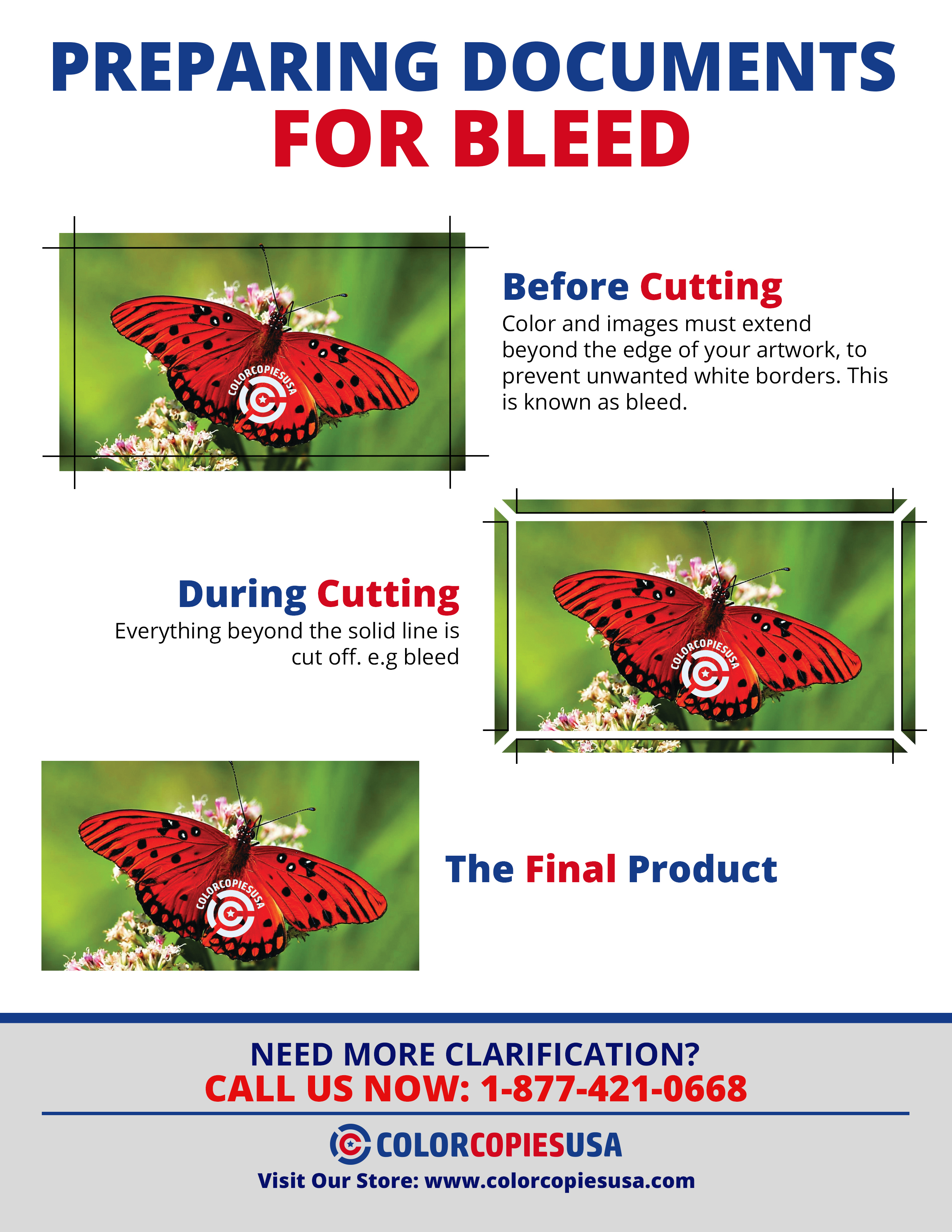 On this infographic image you can see the steps required to produce a bleed printing document. Full Bleed printing requires to print substrate in excess, trim and cut, and finally enjoy the final product at the right trim size. There are graphics demonstrating all of the requirements