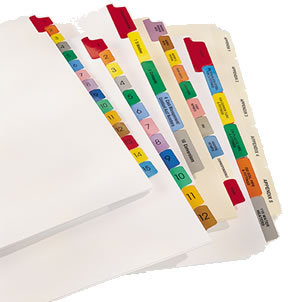 The picture shows an assortment of index tabs. Some are shorter, longer and in different colors. Some got protection through the application of a strong plastic, Maylar.